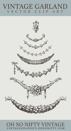 These gorgeous illustrations of vintage garland make the perfect addition to your craft projects.
