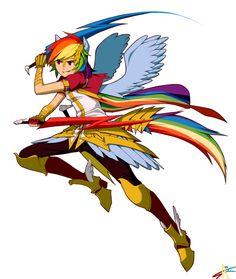 My favourite human Rainbow Dash.  Rainbow Dash by radiostarkiller [DeviantArt]