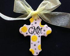 Hand painted Personalized Cross Ornament by PurpleGiraffeCeramic, $15.00