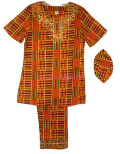 69fb0222c3c Black History Month Boys Kente Pant Suit Gold Maroon Green M Fit upto around