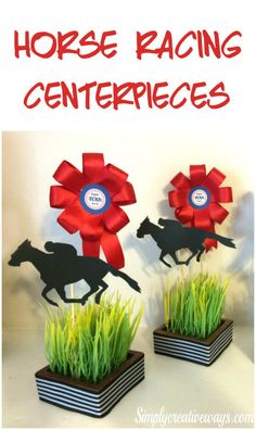 DIY Horse Racing centerpieces, that are light weight, easily customized and perfect for tables or food station. Horse Racing Party, Horse Party, Race Party, Derby Party, Race Night, Run For The Roses, Party Centerpieces, Centerpiece Ideas, Table Decorations