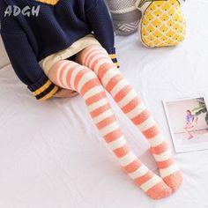 Thigh High Socks, Thigh Highs, Knee Socks, Harajuku Fashion, Kawaii Fashion, What Boys Like, Space Fashion, Striped Tights, Coral Orange