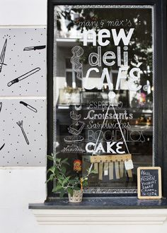 Chris Tonnesen: New Deli Yoga - Berlin.LOVE the window signage. Cafe Bar, Deli Cafe, Cafe Bistro, Bakery Cafe, Cafe Restaurant, Restaurant Interiors, Cafe Interior, Shop Interior Design, Cafe Design