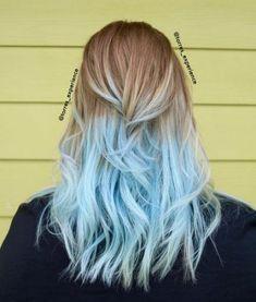 Blonde and blue hair, blonde hair tips, blue tips hair, pastel blue hair,. Blue Tips Hair, Blonde And Blue Hair, Blonde Hair Tips, Blond Ombre, Hair Dye Tips, Ombre Hair Color, Cool Hair Color, Black Hair, Pastel Hair Tips