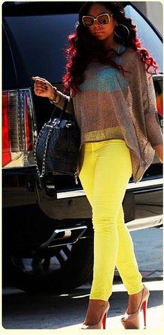 Pop of color jeans, shoes, bag, earrings