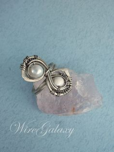 Pearls ring by WireGalaxy on Etsy