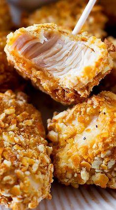 #KatieSheaDesign ♡♡♡ Pretzel Crusted Chicken Bites Would be gr8 w/ varieties of dipping sauce!