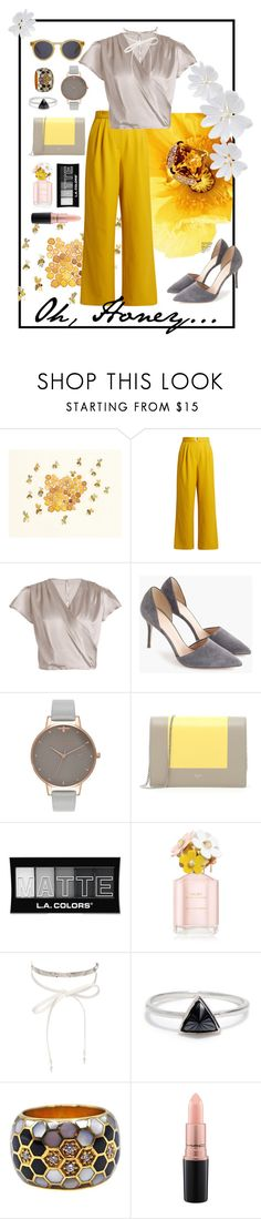 """""""Oh, Honey."""" by opalrue ❤ liked on Polyvore featuring TIBI, J.Crew, Olivia Burton, CÉLINE, L.A. Colors, Marc Jacobs, nOir, Bing Bang, MAC Cosmetics and yellow"""