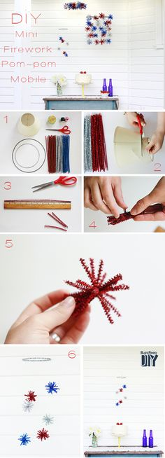 Mini Firework Pompom Mobile | How to Decorate For The Cutest Fourth Of July PartyEver