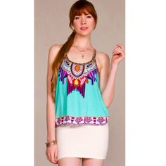 "COMING SOON: ""Whimsical Escape"" multi colored bohemian tank."