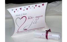 Besondere Hochzeitseinladung mit Herzen in pink und grau. Box, Container, Pink And Gray, Invitations, Snare Drum