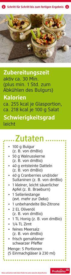 Bulgursalat mit Apfel, Walnüssen und Datteln // Das Rezept finden Sie auf dm.de/profissimo-rezepte // #ProfissimoRezepte #kochen #Idee #Kreativ #Rezept #bulgur #salat