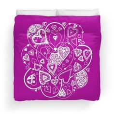 Hearts Within Hearts Aussie Tangle White (See Description Notes for Colour Options). See how you could choose any colour background for this design by emailing me.  Available in a range of home decor and gift items at http://www.redbubble.com/people/heatherian/works/13739924-hearts-within-hearts-aussie-tangle-white-see-description-notes-for-colour-options