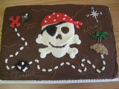 Fun pirate-themed treasure map cake for a birthday.You can find Pirate cakes and more on our website.Fun pirate-themed treasure map cake for a birthday. Pirate Birthday Cake, Birthday Fun, Pirate Birthday Parties, Pirate Birthday Cupcakes, Birthday Cakes, Birthday Ideas, Pirate Theme, Pirate Party, Treasure Map Cake