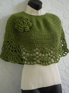 hand crochet capelet shawl shoulder Wrap green. $49.00, via Etsy.