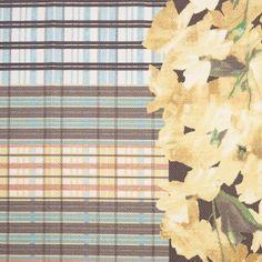 Blue/Yellow Plaid Cotton Pique With Floral Detail