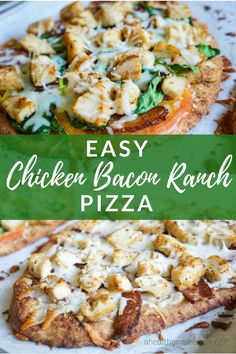 Easy Chicken Bacon Ranch Pizza is made with Naan and uses leftover chicken ranch and any veggies you have on hand A Healthy Makeover Chicken Bacon Ranch Pizza, Chicken Pizza Recipes, Healthy Pizza Recipes, Leftover Chicken Recipes, Chicken Leftovers, Pizza Ranch, Chicken Ideas, Ww Recipes, Cheese Recipes