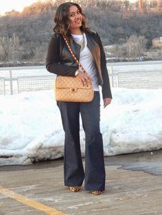 Wide-Leg Jeans + Leather Jacket + Chanel bag