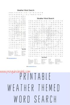 This FREE Printable Word Search is an easy way to help kids review their weather words or terms. There are 30 words in the word search. An answer key is also included. Weather Word Search, Free Printable Word Searches, Weather Words, Science Resources, Help Kids, Sensory Bins, Kids Education, Book Lists, Penguins