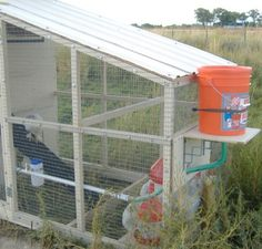 Bucket, PVC, and nipple chicken waterer  Use rain barrel in an elevated support instead of bucket