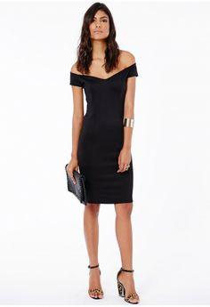 Faye Bardot Bodycon Midi Dress - Midi Dresses - Dresses - Missguided