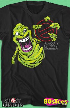 Slimer Ghostbusters T-Shirt: Ghostbusters Mens T-Shirt  Slimer Geeks:   Enjoy the comfort of home or travel the great outdoors in this men's style shirt that has been designed and illustrated with great art.