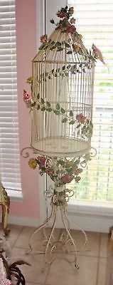 ANTIQUE VINTAGE TOLE BIRDCAGE PINK ROSES FRENCH COTTAGE CHIC HOME DECOR