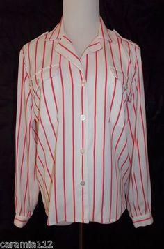 ff7761202 ANNE KLEIN Button Front Shirt size 8 Striped Blouse White Dark Pink Nautical