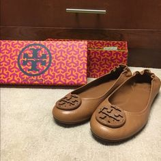 Size 10.5 Tory Burch Flats Worn twice, like new with box, without tags. Great condition! Tan buck leather. Tory Burch Shoes Flats & Loafers