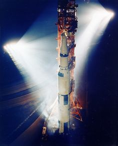 Saturn V on launch pad at night., I love my book and I LOVE you!!!