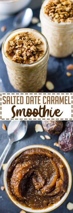 Salted Date Caramel Smoothie - Lean Green Nutrition Fiend Apple Smoothies, Healthy Smoothies, Healthy Drinks, Healthy Recipes, Green Smoothies, Chocolate Smoothies, Chocolate Shake, Healthy Food, Yummy Food