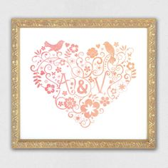 Personalised Watercolour Heart print  by STNstationery on Etsy, £10.00