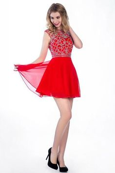 AHC049 New Arrival Red Chiffon Homecoming Dresses 2017
