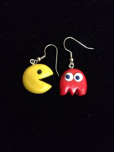 Handmade Polymer Clay Pacman Earrings by PaperLotusGallery on Etsy, $10.00