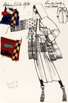 Wk6 Bill Gibb (1943-88), fashion design, London, 1976. (Ink, drawing, collage)…