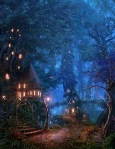 [Fantasy Art Addiction] - Tree House Forest by RealNam Fantasy Art Landscapes, Fantasy Artwork, Landscape Art, Fantasy Places, Fantasy World, Fantasy Forest, Fantasy House, Fairy Land, Fairy Tales