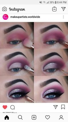 Pin By Brandy Vickery On Makeup Makeup Eye Makeup Eyeshadow Makeup Eyebrow Makeup Tips, Eye Makeup Steps, Makeup Eye Looks, Eye Makeup Art, Beauty Makeup Tips, Skin Makeup, Eyeshadow Makeup, Shimmer Eyeshadow, Purple Eye Makeup