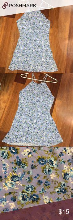 Dress Light Blue Floral Dress Forever 21 Dresses