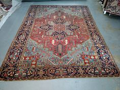 Persian Rug - 1930s Hand-Knotted Antique Heriz (3572) by carpetshopprincess on Etsy