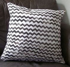Such a great weekend craft idea, and back from the 70's!  POTATO STAMPING a chevron design on fabric, make a pillow.
