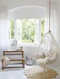 Dreamy girls room with Byron Bay hanging chair and Armadillo & Co rug