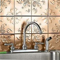 Decorative Wall Tiles Set of 16 Copper Tone Peel and Stick Kitchen / Bath Decor