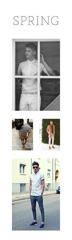 spring menswear inspiration; white, minimal shirts, shorts, coloured pants, and coats in bright and pastel colours / sources can be found on Haus of Man