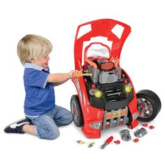 The Car Lover's Engine Repair Set from Hammacher Schlemmer is a toy car that lets kids pop the hood, change the oil, and tinker with the engine. Hammacher Schlemmer, The Wombats, Baby Kids, Baby Boy, Fun Baby, Engine Repair, Car Repair, Car Engine, Little Man