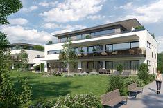 Architekturvisualiserung für einen kommenden Wohnbau in Graz Mariatrost mit großzügigen Terrassen und sehr schönen Gärten. Style At Home, New Age, Mansions, House Styles, Home Decor, Architecture Visualization, Porches, Graz, Homes