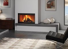 Built-in Fireplace Design Ideas With Black Frame Finish, By Rocal