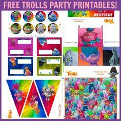 Free Trolls Party Printables Set