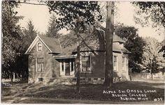Albion College, Michigan, ALPHA CHI OMEGA LODGE, 1910 RPPC Photo Postcard