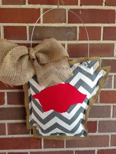 Arkansas Burlap Door Hanger with Burlap Bow and by EverTwoClever