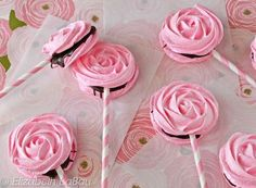 Meringue Rose Pops are beautiful rose-shaped and rose-flavored meringues, sandwiched with chocolate. They're the perfect romantic candy!